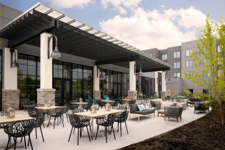 Archer Hotel Florham Park — Back patio with seating