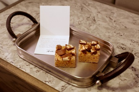 Archer's turndown treat — loaded Rice Krispies treats and a special note