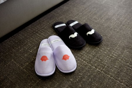 Whimsical slippers with mustaches and lips