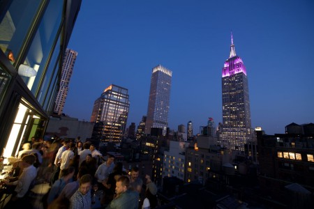 The nighttime view from Spyglass Rooftop Bar