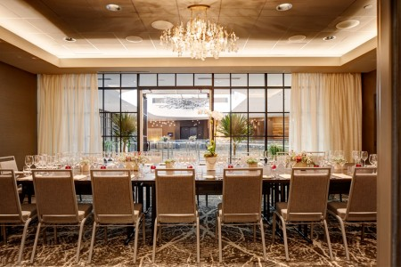 Archer Hotel Napa — The Patchett Salon table setting with open blinds