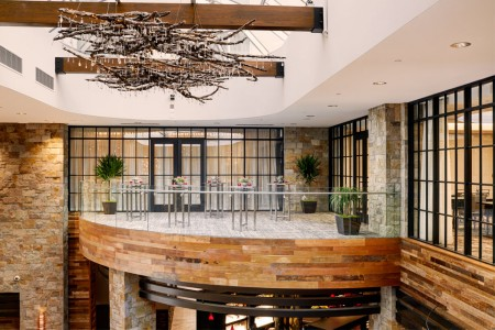 The Balcony Venue with wine branch chandelier