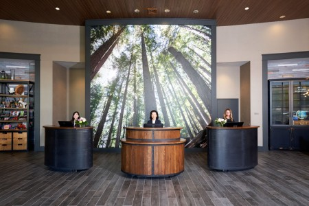 Front desk with staff
