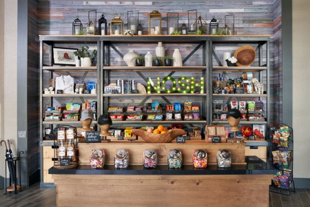 Archer's Market — shelves with drinks, snacks, sundries and souvenirs