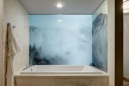 Archer King Balcony Suite - large soaking tub with a frosted bathroom wall