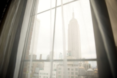 Archer King Empire View - view of the Empire State Building through sheer curtains