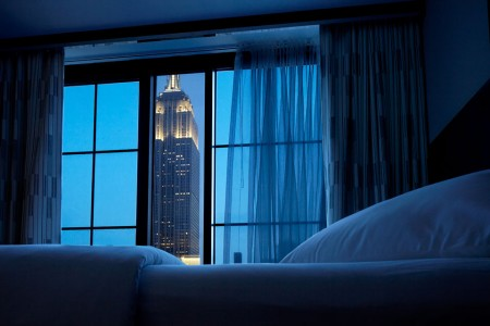 Double Double Empire View - view of the Empire State Building from room during dusk