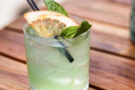 Closeup of a Green River cocktail