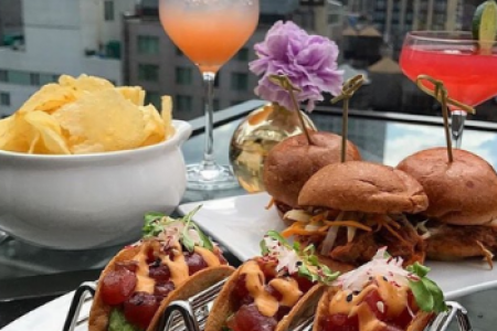 Tacos, sliders, chips and cocktails