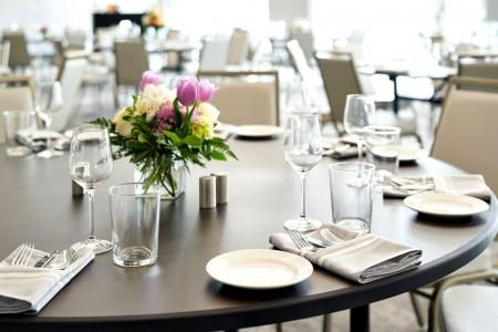 Closeup of a table set for a social event