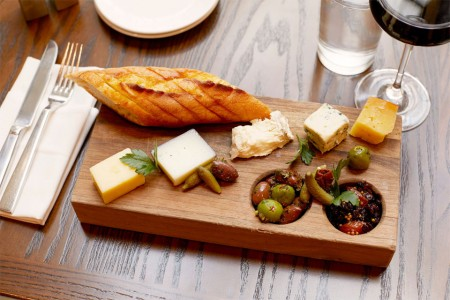 Charcuterie block and red wine