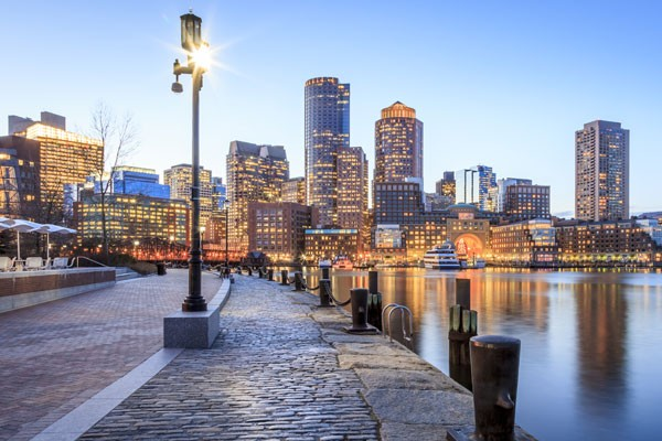 Boston River Walk at Sunset