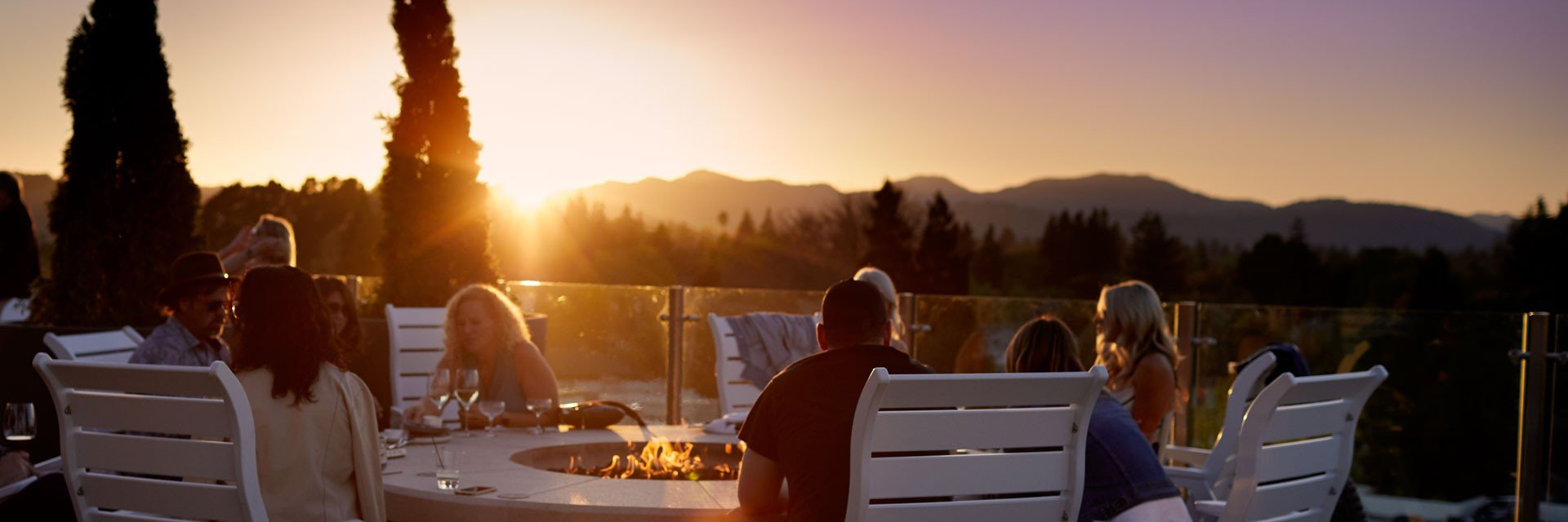 Archer Hotel Napa - Sky & Vine rooftop seating with fire pit