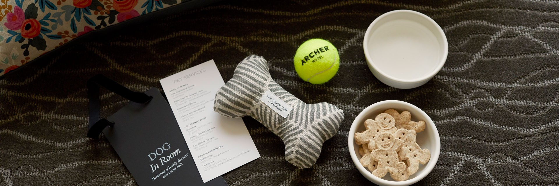 Archer Hotel Napa - Dog bowls, bed, toys and treats