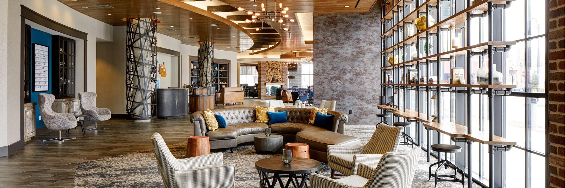 Archer Hotel Burlington Lobby Library Overview