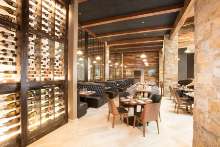 The wall of wine and seating