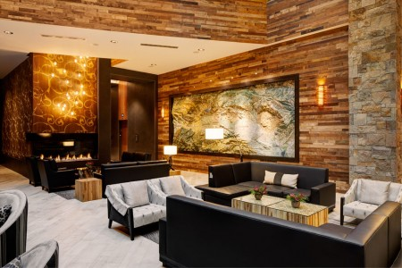 Archer's lobby with topographical map of Napa Valley