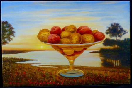 Small Potatoes, 2017 — Oil on canvas by Marvin Humphrey