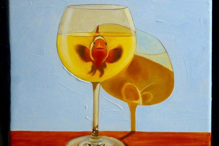 White Wine With Fish, 2017 — Oil on canvas by Marvin Humphrey