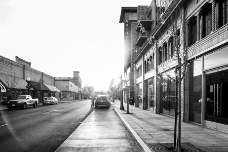 Black-and-white image of the street in front of Archer Hotel Napa