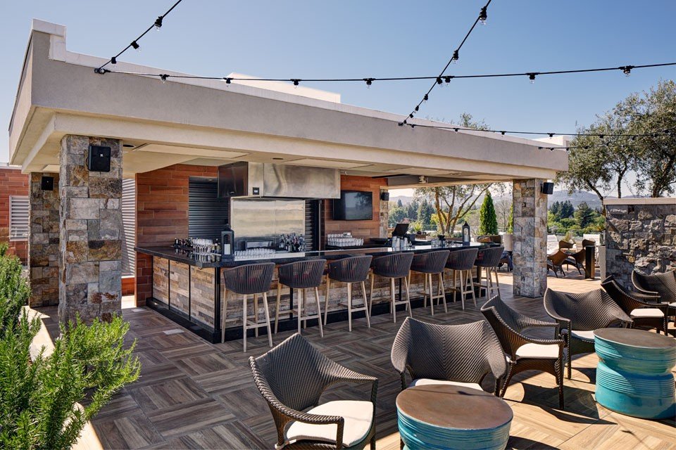 Archer Hotel Napa Rooftop - Chef's Show Kitchen with bar seating and additional seating