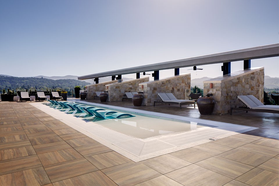 The Sky Terrace with water deck and cabanas