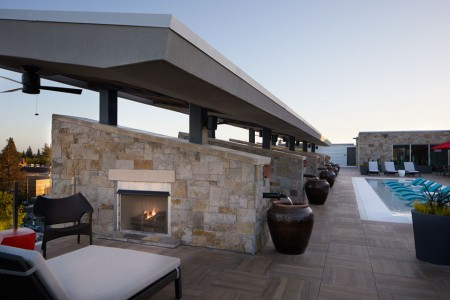 Cabanas with fireplaces and seating