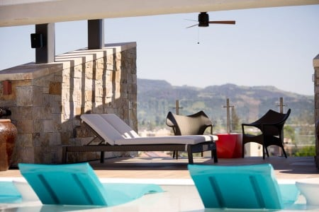 Archer's cabana with a skyline view of the valley