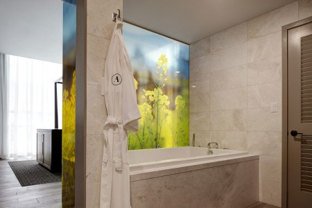 Archer's Den - soaking tub with a frosted bathroom wall shrouded by Napa mustard fields