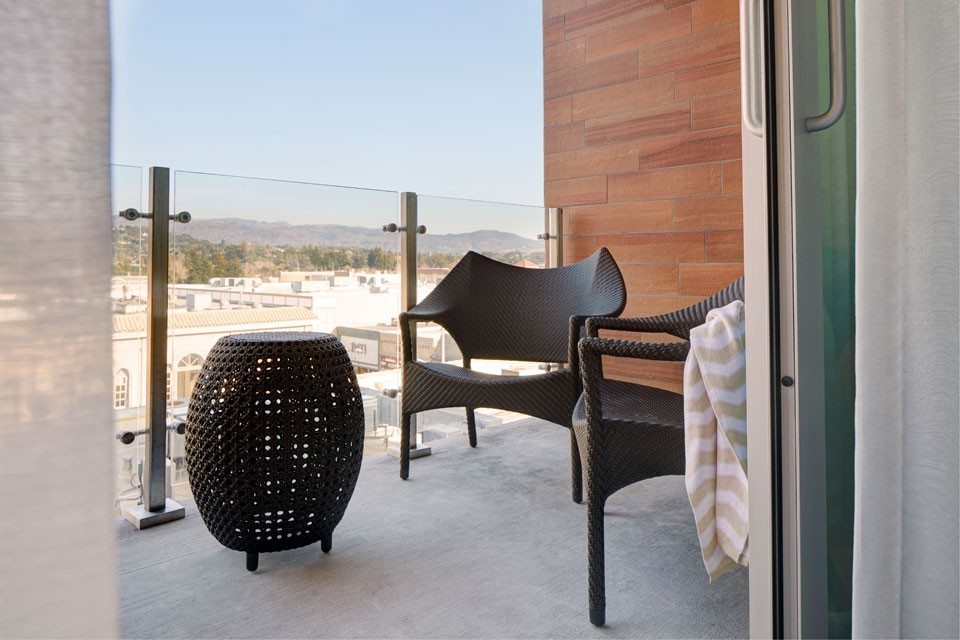Archer Napa Hotel Balcony — daytime experience overlooking downtown Napa