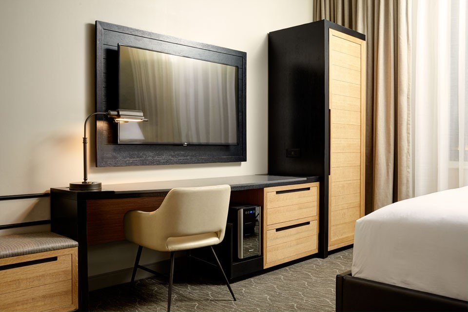 Archer Hotel Napa Deluxe King Mobility-Accessible Guest Room With Roll-in Shower — desk and TV
