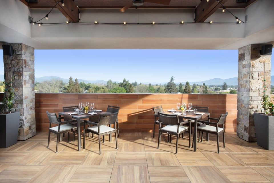Archer Hotel Napa - Sky & Vine table setting with top view