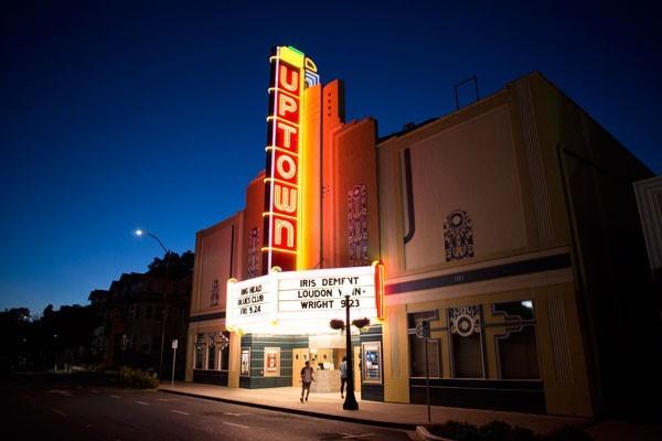 Uptown Theatre at night