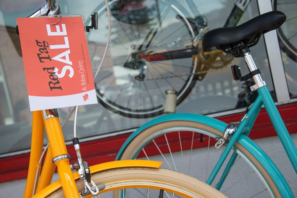 Red tag sale on bikes