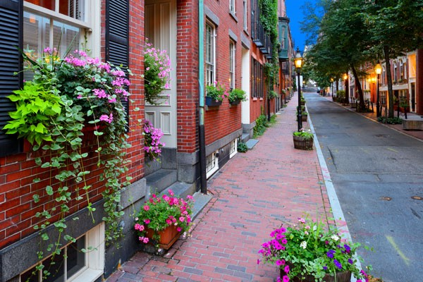 Street View with brick buildings and flowers