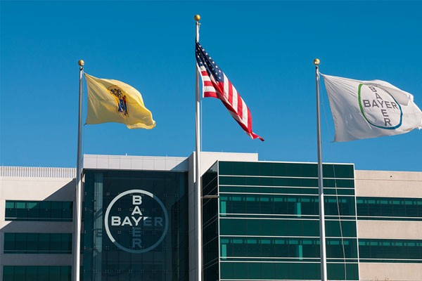 Three Flags in front of the Bayer Building