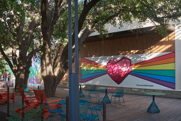 Domain Northside HOPE Outdoor Gallery mural with seating