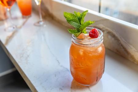 Cocktails on a drink ledge