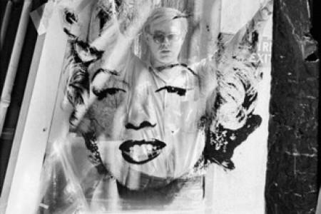 Warhol Holding Marilyn Monroe Acetate 1, 1964 — Photograph by William John Kennedy