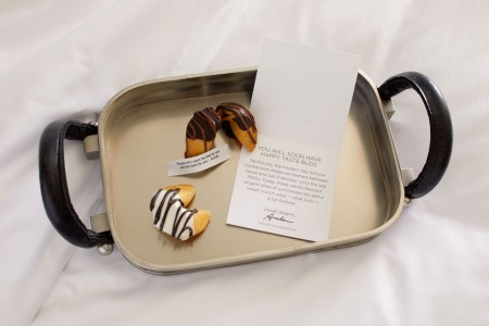Turndown treat - fortune cookies on a tray with a card