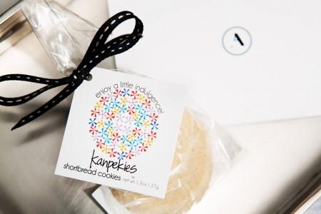 Turndown treats - Kanpekies Shortbread Cookies on a tray with a card