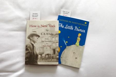 Two New York-inspired books on white bedding