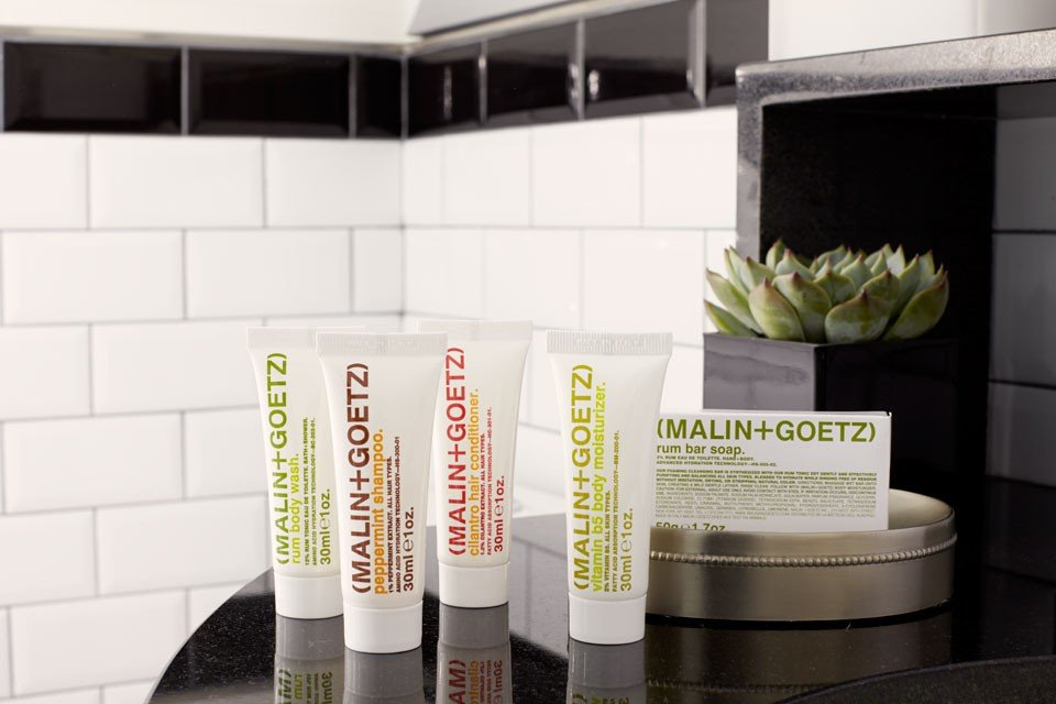 Malin+Goetz luxury toiletries in bathroom