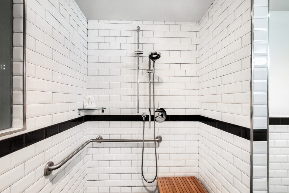 Double Double Mobility- and Hearing-Accessible Guest Room With Roll-in Shower — roll-in shower with shower seat, adjustable shower wand and grab bars
