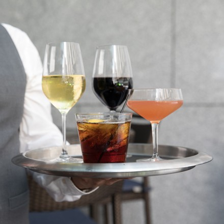 Drinks on a server's tray