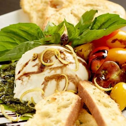 Closeup of Caprese salad and bread