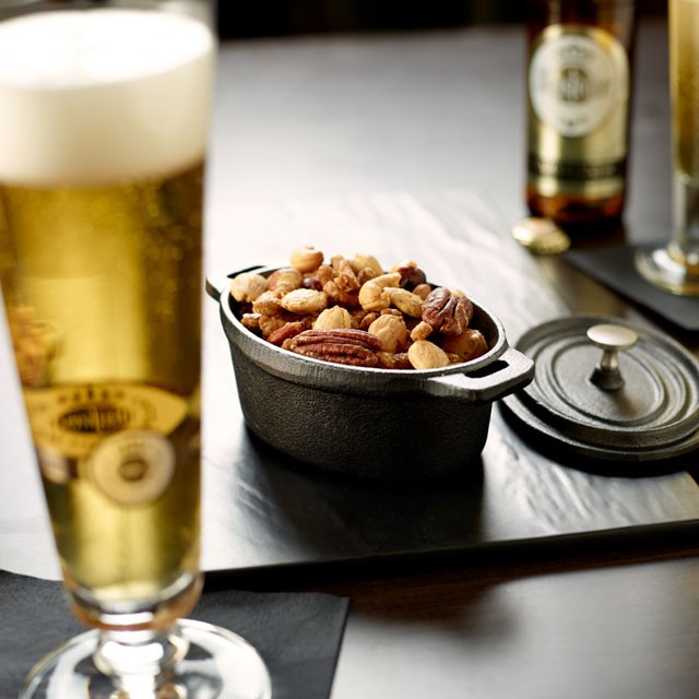 Beer with snacking nut mix