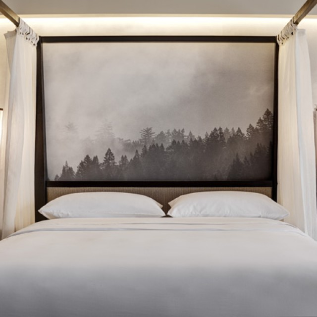 Four-poster bed with black and white mural of fog above tree line