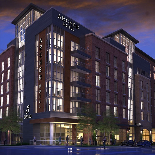 Evening exterior rendering of Archer Hotel Tysons