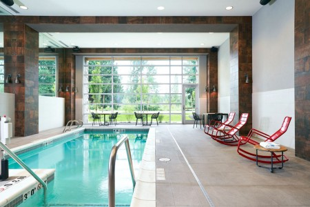 Archer's indoor pool with red rockers